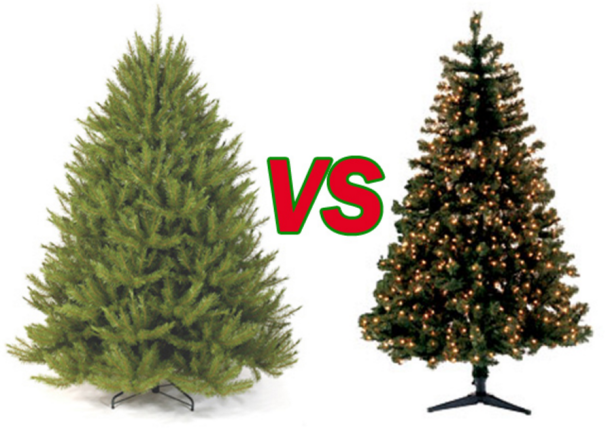 Photo of a real Christmas tree versus a fake Christmas tree. Which is environmentally superior?